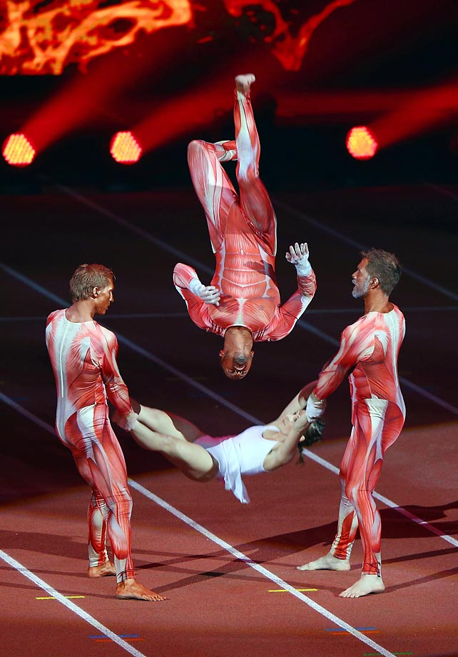 Artists perform at the opening ceremony for the European Athletics Indoor Championships.