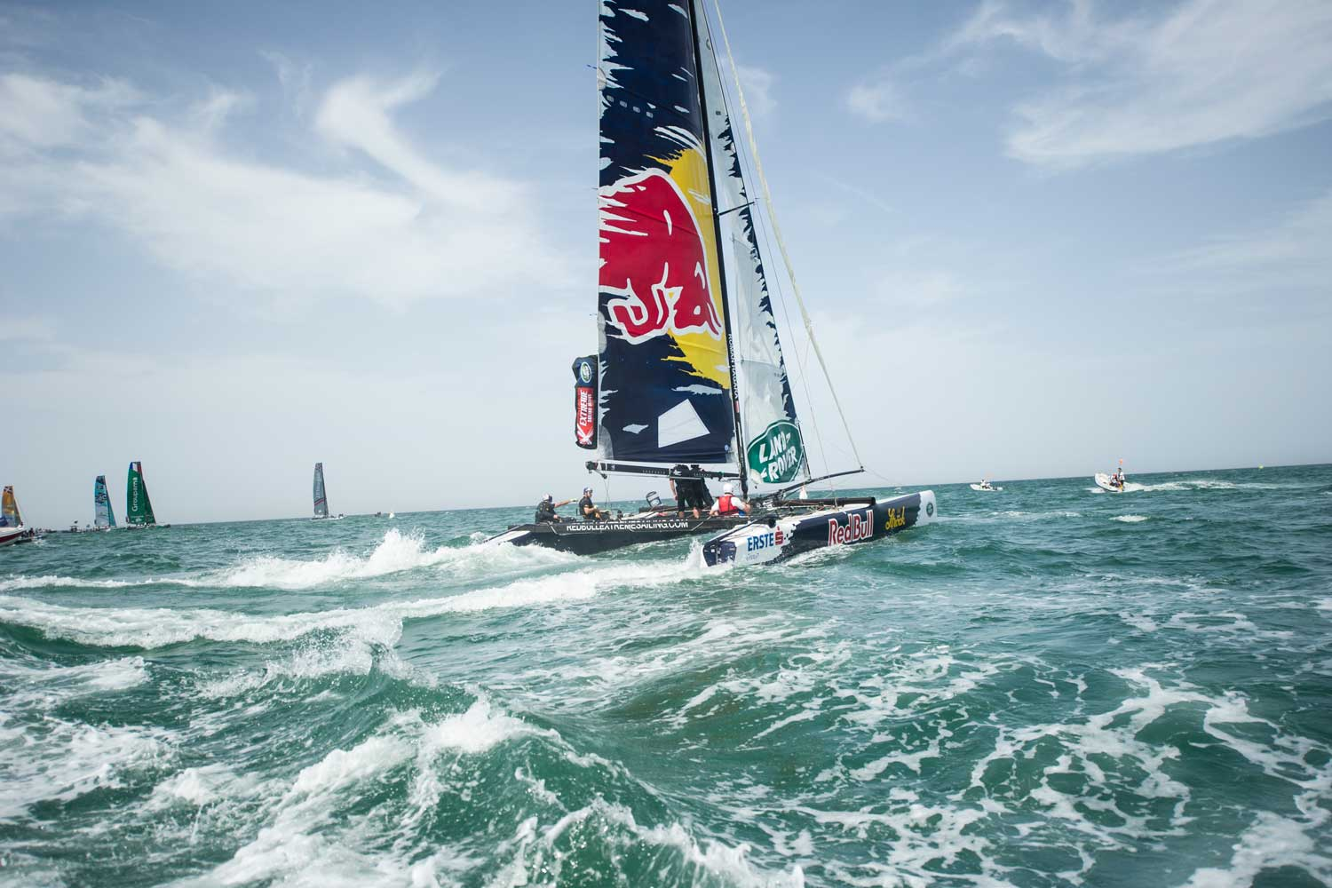 Contestants in the Extreme Sailing Series in Muscat, Oman.