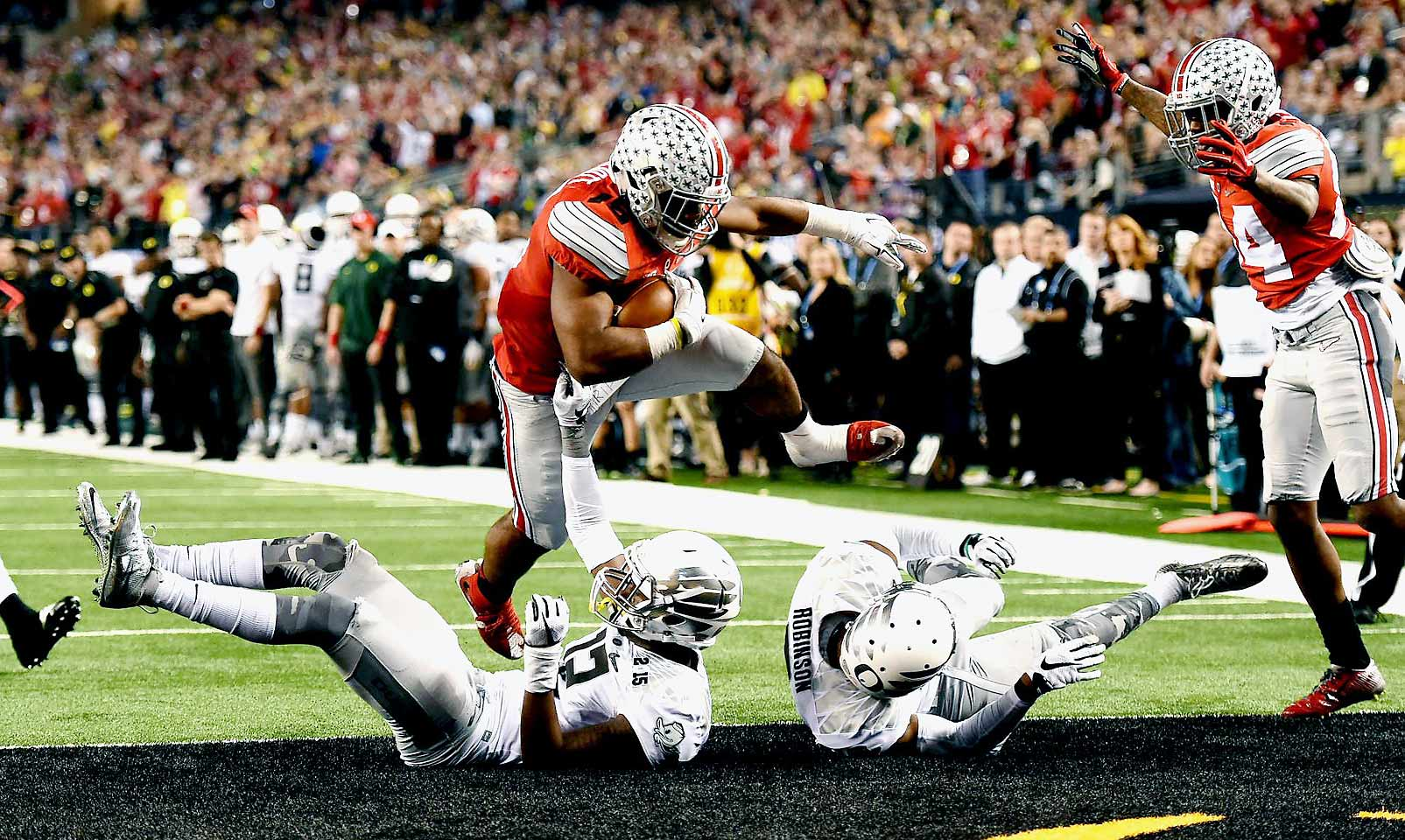 Elliott was last seen bowling over Oregon defenders in a dominant performance in Ohio State's national championship win. The rising junior ran for over 200 yards in each of the Buckeyes' last three games of 2014, and he could reach 2,000 yards this year if Meyer goes to him early and often.