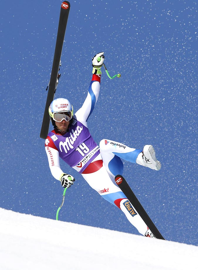Carlo Janka of Switzerland loses a ski during the World Cup super-G in Meribel, France.