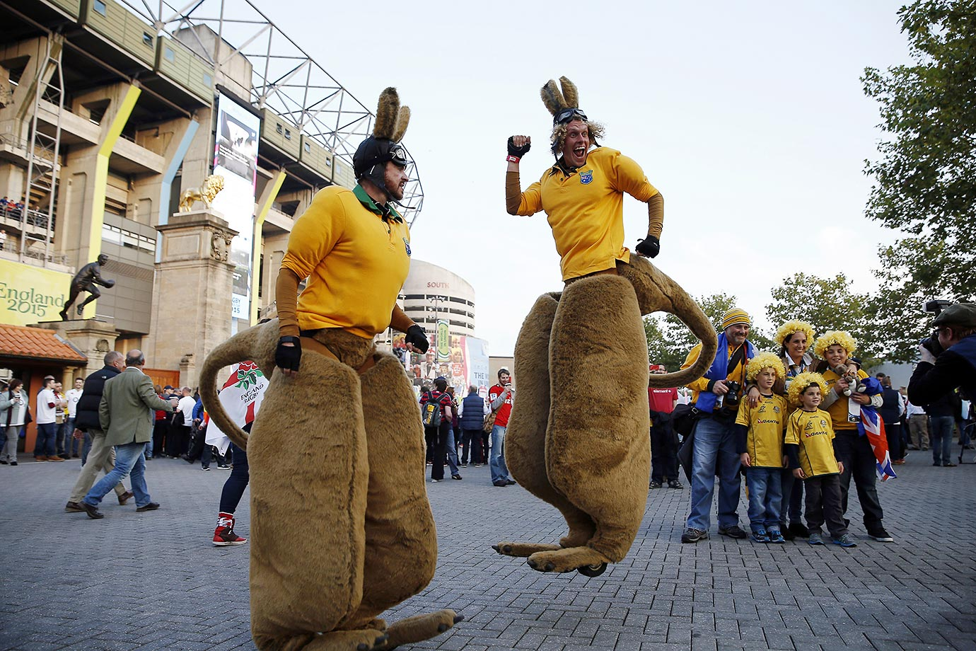 Entertainers dressed as wallabies perform outside Twickenham stadium before a Pool A match of the 2015 Rugby World Cup between England and Australia.