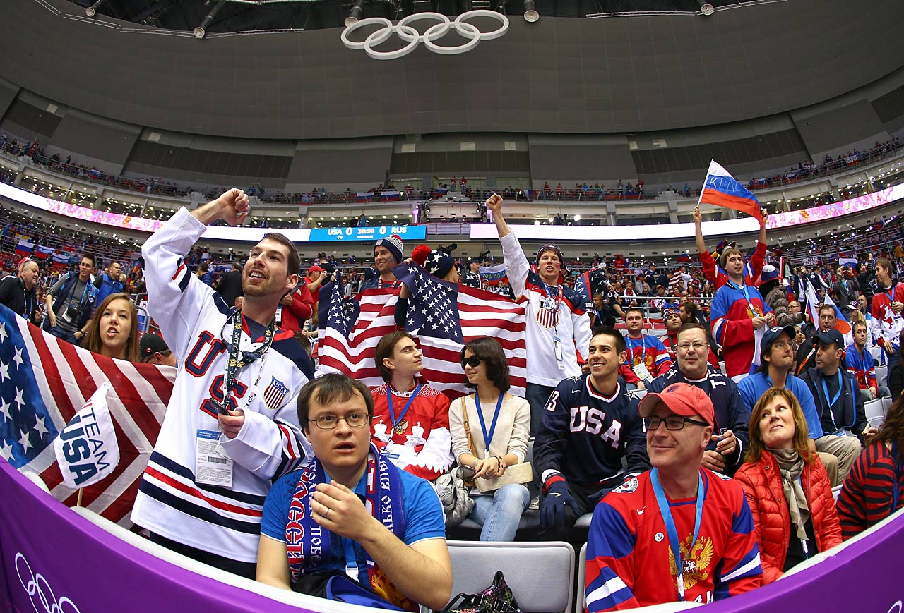 American and Russian fans filled the Bolshoy Ice Dome for the preliminary round hockey game between the two countries.