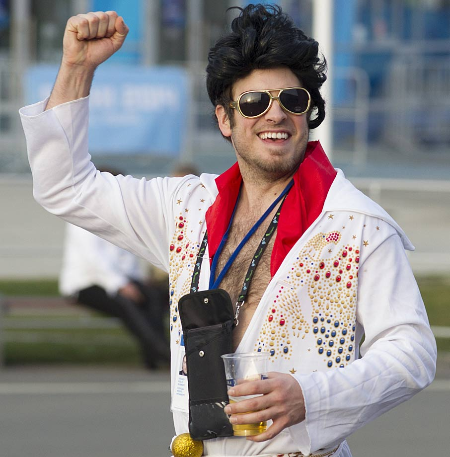 As Elvis impersonators go, this one doesn't win a gold medal.