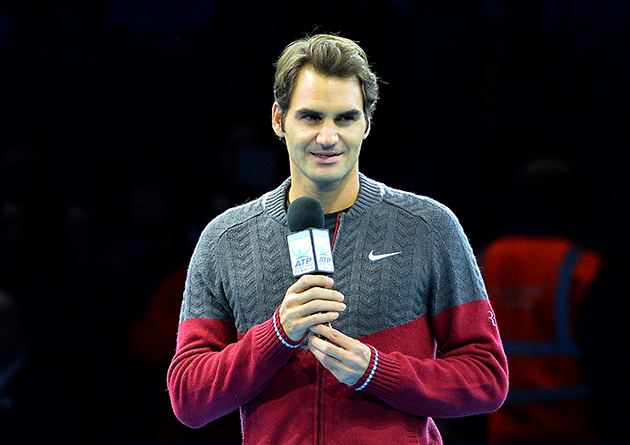 Federer addressed the crowd before the championship match in London.