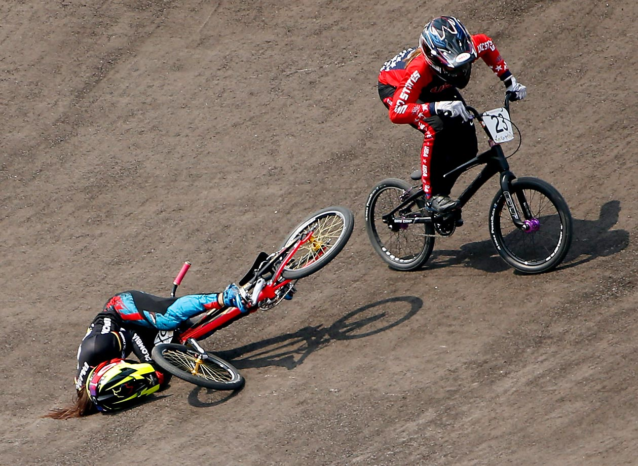 Felicia Stancil of the U.S. goes around Mariana Pajon Londono of Columbia on her way to winning  the women's BMX Final at the Toronto 2015 Pan Am Games.