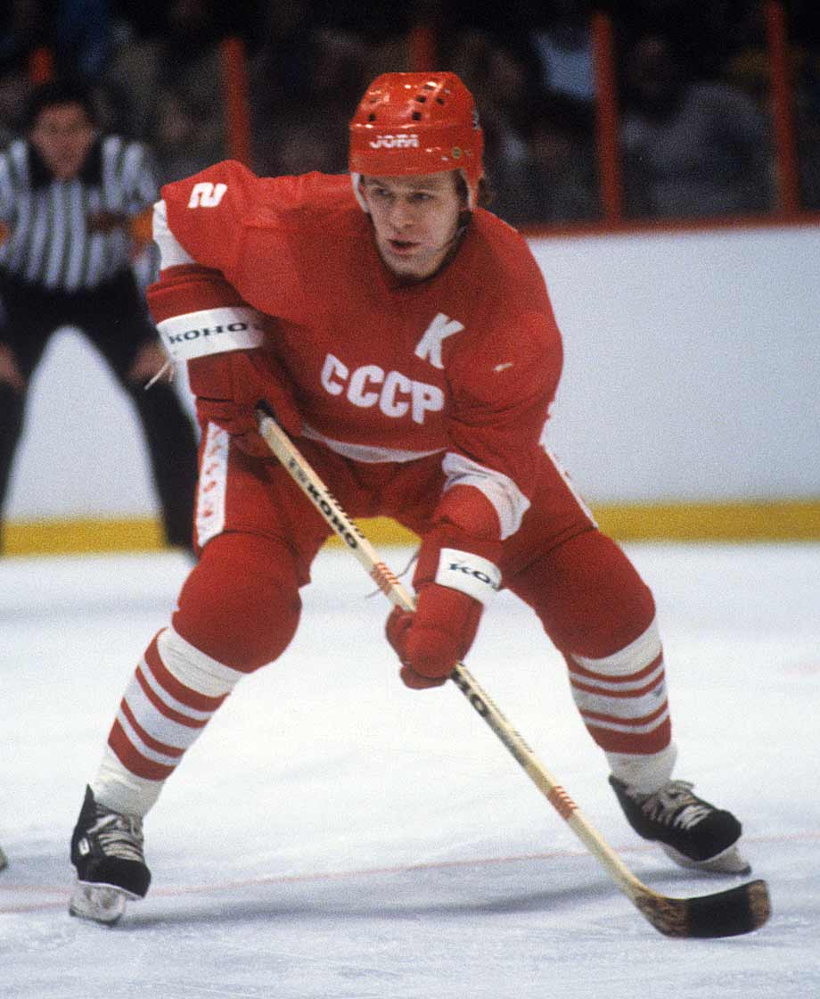 In his prime, he was considered the greatest defenseman in international hockey. Fetisov starred for the Red Army team for 13 seasons and was twice named Soviet hockey's player of the year. After winning his second Olympic gold medal in 1988, he joined the New Jersey Devils and later won two Stanley Cups as a player with the Detroit Red Wings (he won another as a Devils assistant in 2000). He played for ten years in the NHL, and saw action in 116 postseason games. -- Brian Cazeneuve