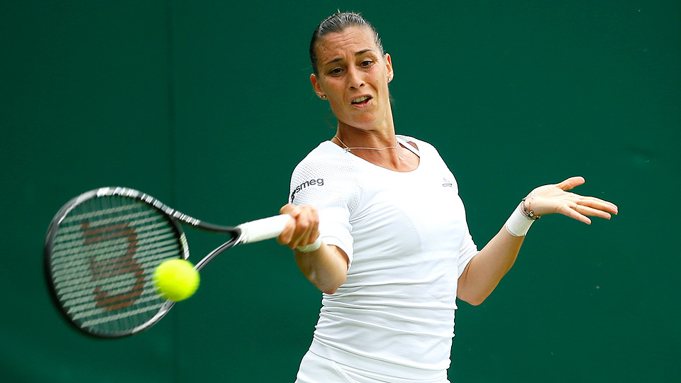 Flavia Pennetta was upset by Lauren Davis in the second round at Wimbledon.