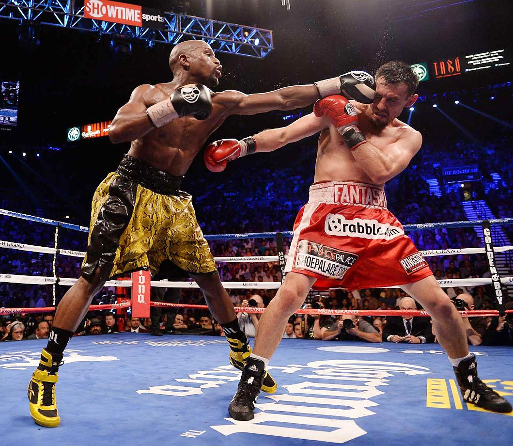 Floyd Mayweather defended his welterweight title with an easy victory over Robert Guerrero at the MGM Grand in Las Vegas in May 2013.