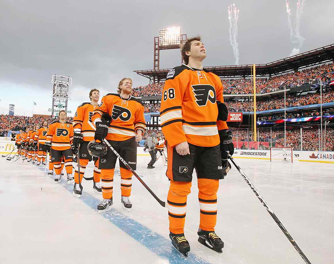 Philly's second trip to the Classic produced the worst jersey to date, a Brach's candy corn nightmare of orange marred by thick black and white piping. The keystone-shaped captain's patches looked like a forced concession to vintage integrity.