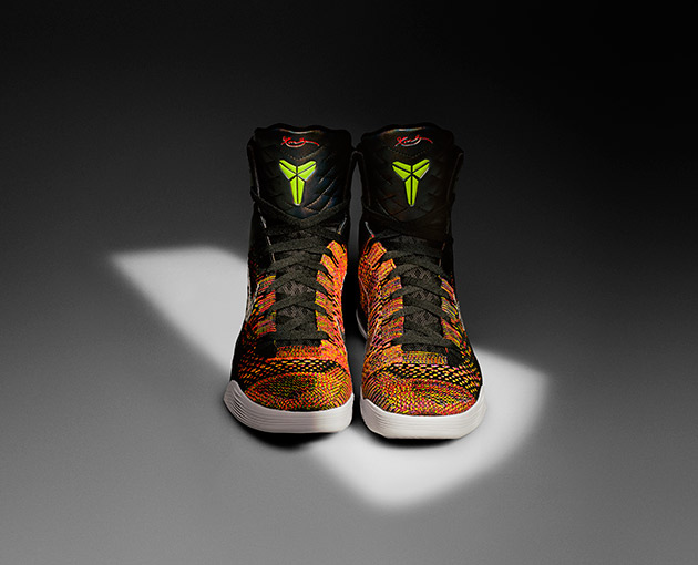Flyknit routinely shows up in a variety of training and running shoes, but it has recently expanded beyond that into basketball shoes—the Kobe 9 super-hightop is also made with the futuristic material.