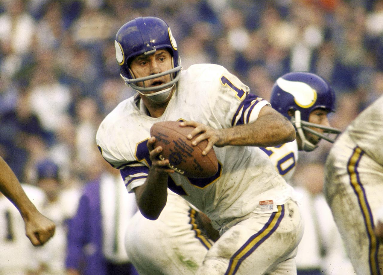 Minnesota Vikings quarterback Fran Tarkenton in action vs. the Baltimore Colts.
