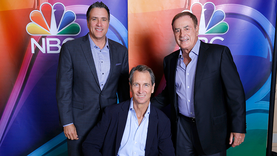 NBC Sunday Night Football coordinating producer Fred Gaudelli (left) with Chris Collinsworth and Al Michaels.