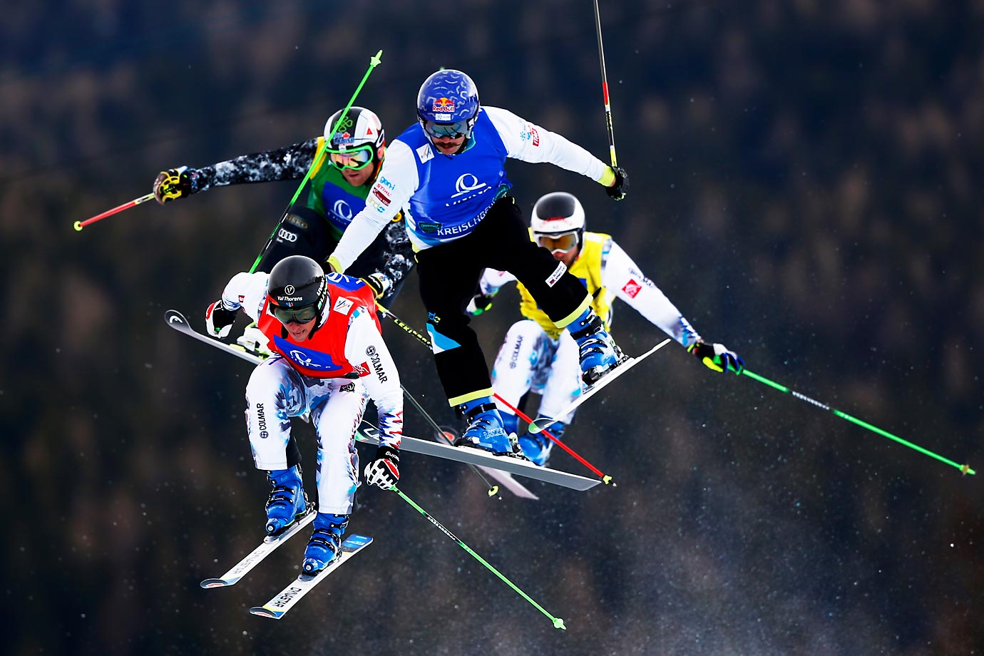 Thomas Zangerl of Austria (with mustache) competes in the semifinal of the ski cross at the FIS Freestyle Ski and Snowboard World Championships in Kreischberg, Austria.