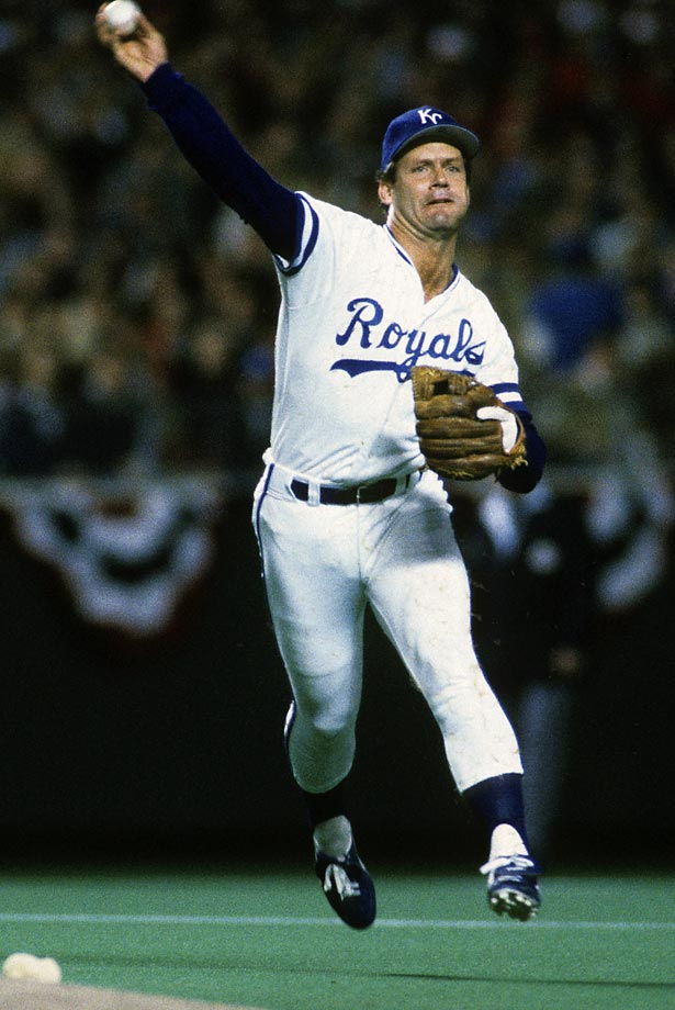 George Brett throws to first base during Game 1 of the World Series against St. Louis. The Cardinals won 3-1 at Royals Stadium.