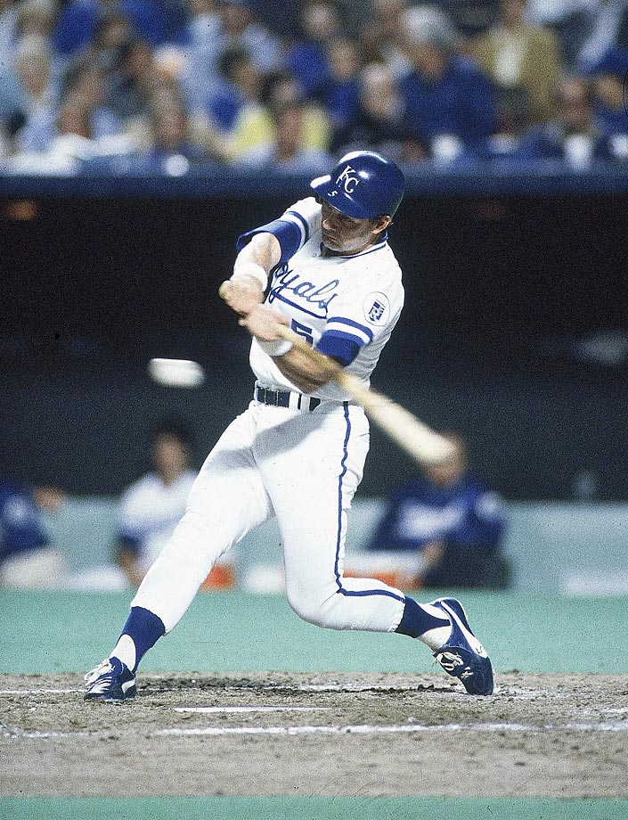George Brett bats against the St. Louis Cardinals. He finished with a batting average of .370 in the World Series.