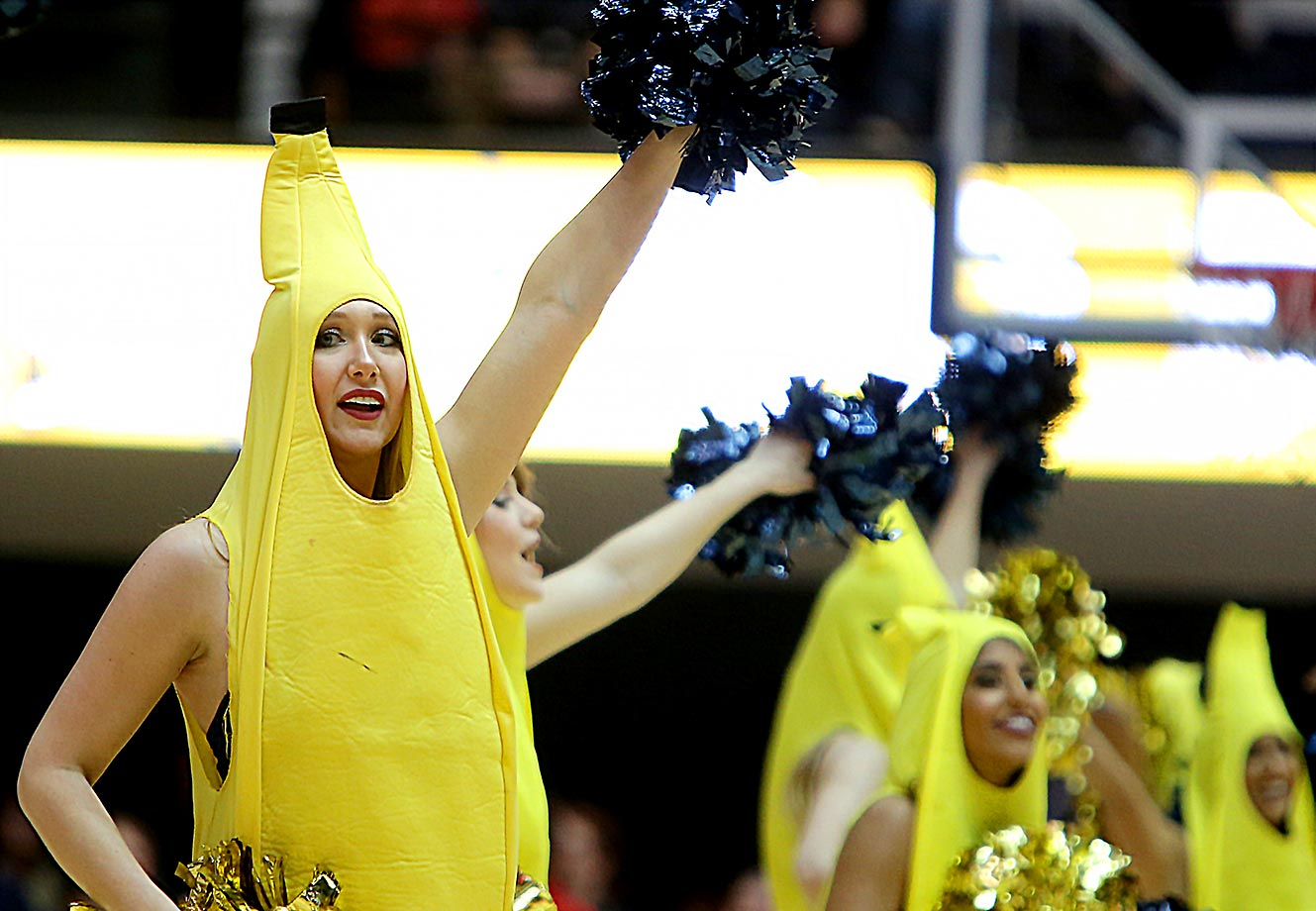 George Washington cheerleaders went bananas at a game against Fordham.