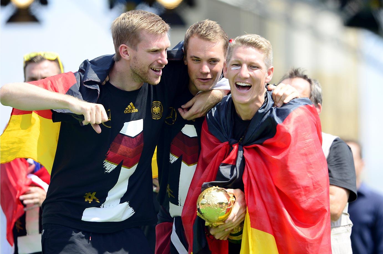 Per Mertesacker, Manuel Neuer and Bastian Schweinsteiger