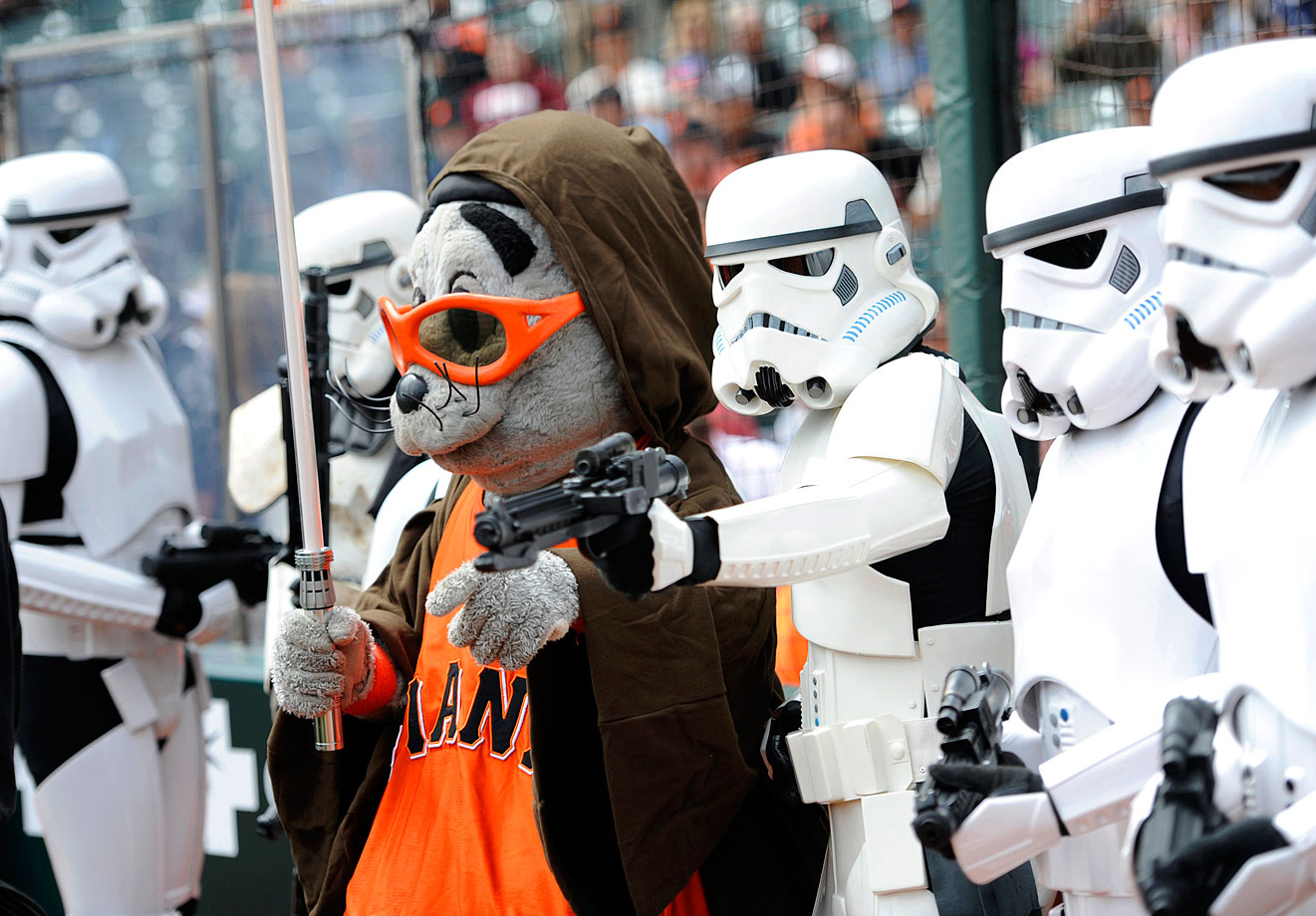 "San Francisco Giants mascot Lou Seal poses with stormtroopers before the Giants game against the Arizona Diamondbacks, as a part of ""Star Wars Day"" on Sept. 4, 2011 at AT&T Park in San Francisco."