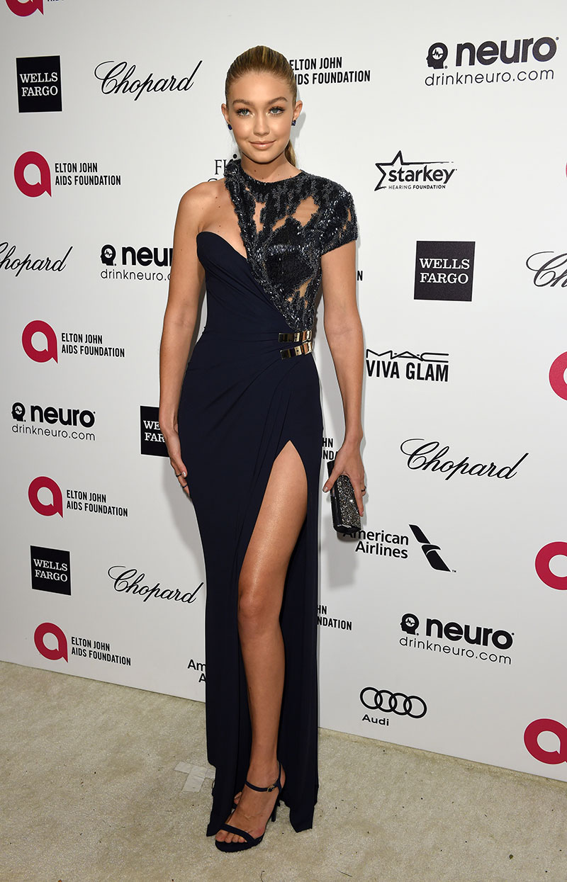 Gigi Hadid attends the Elton John AIDS Foundation's 23rd annual Academy Awards Viewing Party