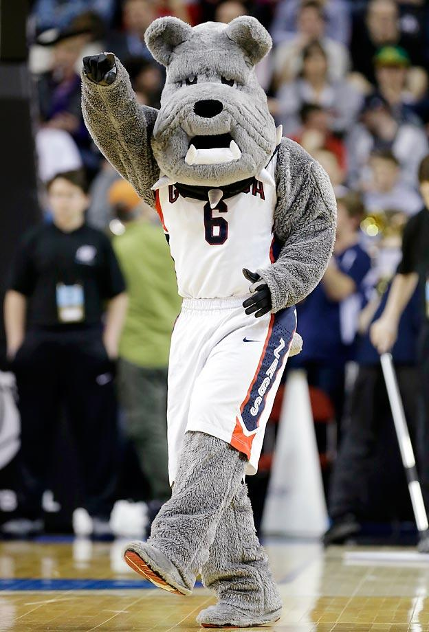 No. 3: Spike the Bulldog roams the sidelines during Gonzaga games. He's top-heavy with a long face and a big mouth, and an icon in college athletics. (Text credit: Andrew Wittrey/SI.com)