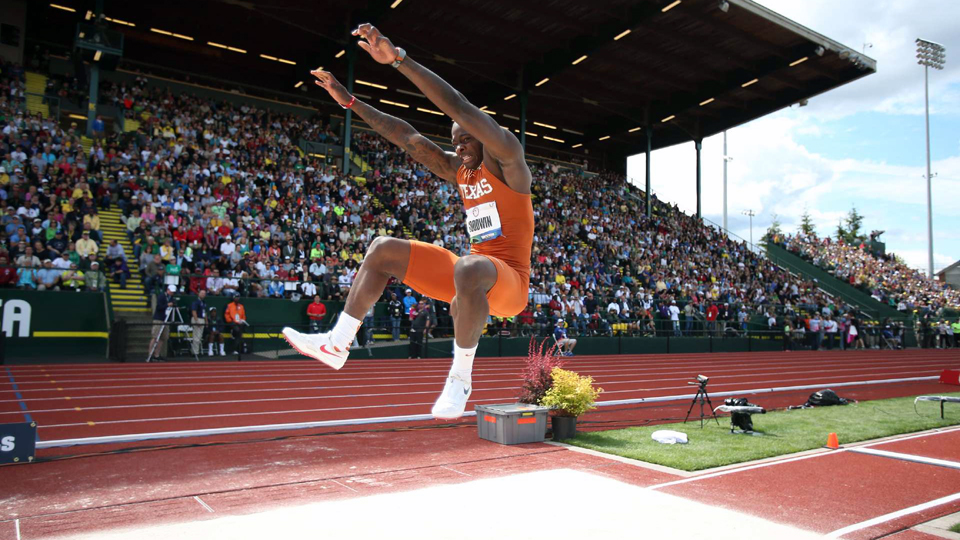Marquise Goodwin in action during the Men's Long Jump final at the 2012 U.S. Olympic Track & Field Team Trials at Hayward Field in Eugene, Oregon.