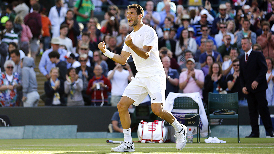 Grigor Dimitrov was losing early against Alexandr Dolgopolov, but won the last two sets to secure a spot in the fourth round.