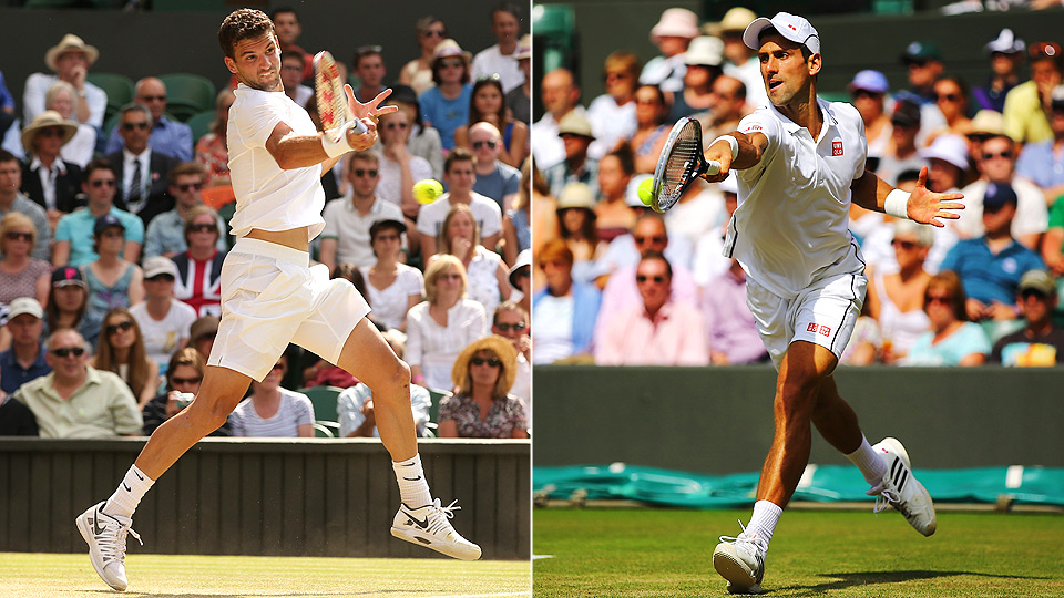Grigor Dimitrov routed defending champion Andy Murray, while Novak Djokovic needed five sets to knock out Marin Cilic in the quarterfinals.