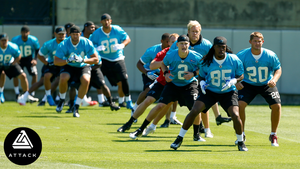 Carolina Panthers' offensive players warm up during an NFL rookie minicamp in Charlotte, N.C. in May 2014.