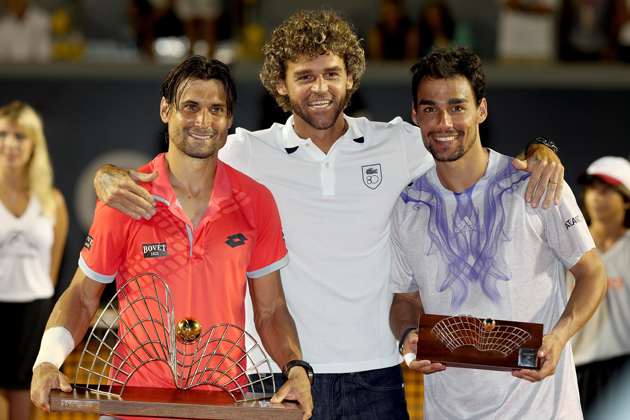 David Ferrer and Fabio Fognini with Kuerten after the final of the Rio Open.