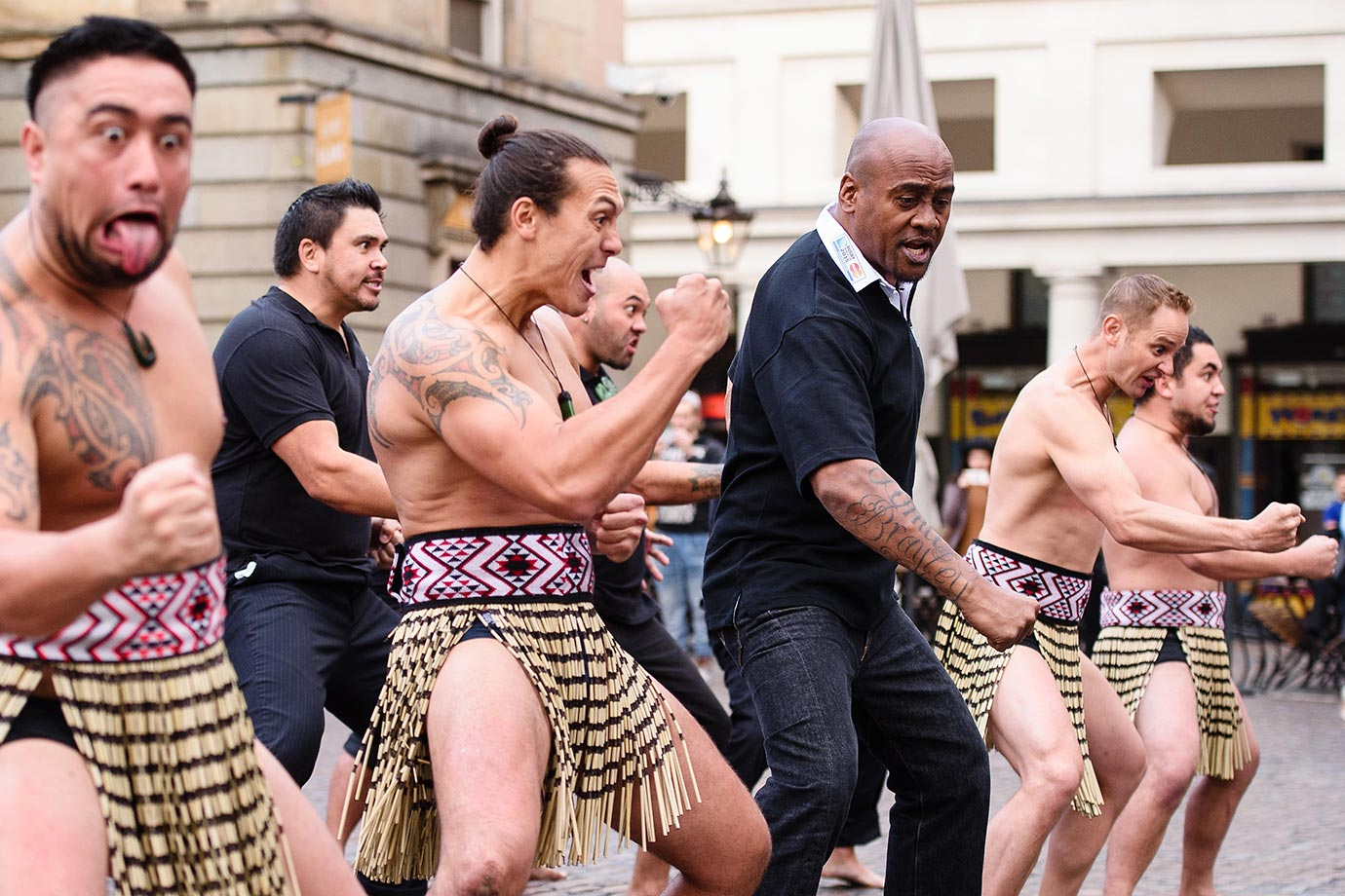 Former New Zealand rugby union player Jonah Lomu and members of the Ngati Ranana London Maori Club, take part in a haka in central London.