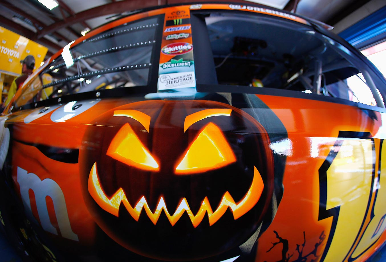 The M&M's Toyota is dressed up for Halloween.