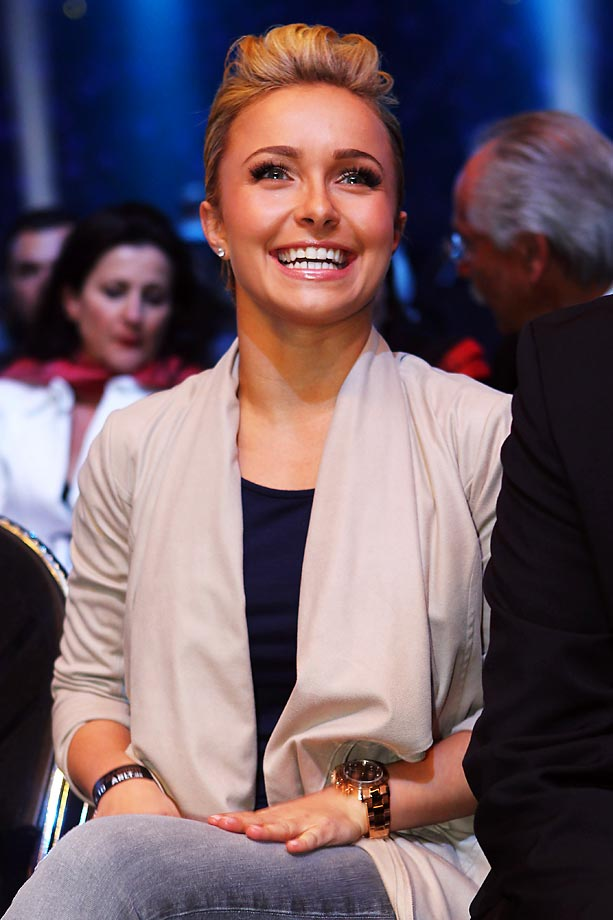 Hayden Panettiere at the bout between Vitali Klitschko of Ukraine and Albert Sosnowski of Poland at the Veltins Arena in Gelsenkirchen, Germany.