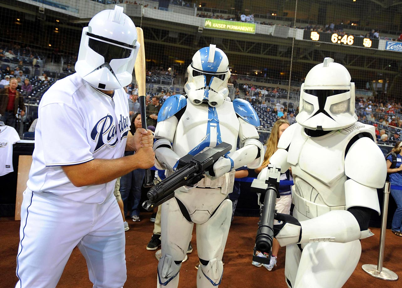 San Diego Padres closer Heath Bell (left) wears a clone trooper helmet and poses for a photo with other clone troopers prior to the Padres game against the Cincinnati Reds on Sept. 24, 2010 at Petco Park in San Diego.