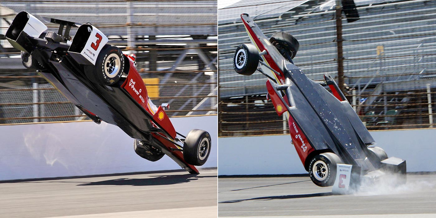 Helio Castroneves hits a wall and flips during practice for the Indianapolis 500. He walked away uninjured.