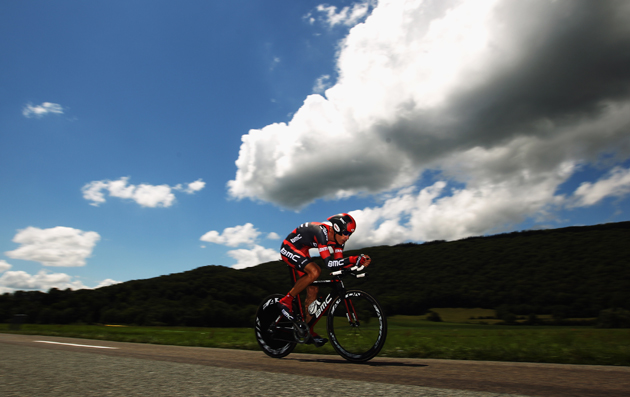 George Hincapie of the USA and the BMC Racing Team rides during stage nine of the 2012 Tour de France, a 41.5km individual time trial, from Arc-et-Senans to Besancon.