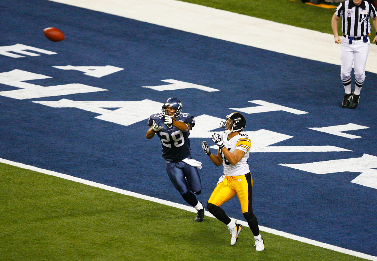 Despite the hang time on the pass, Ward settled under it. The catch set up Roethliberger's disputed touchdown.
