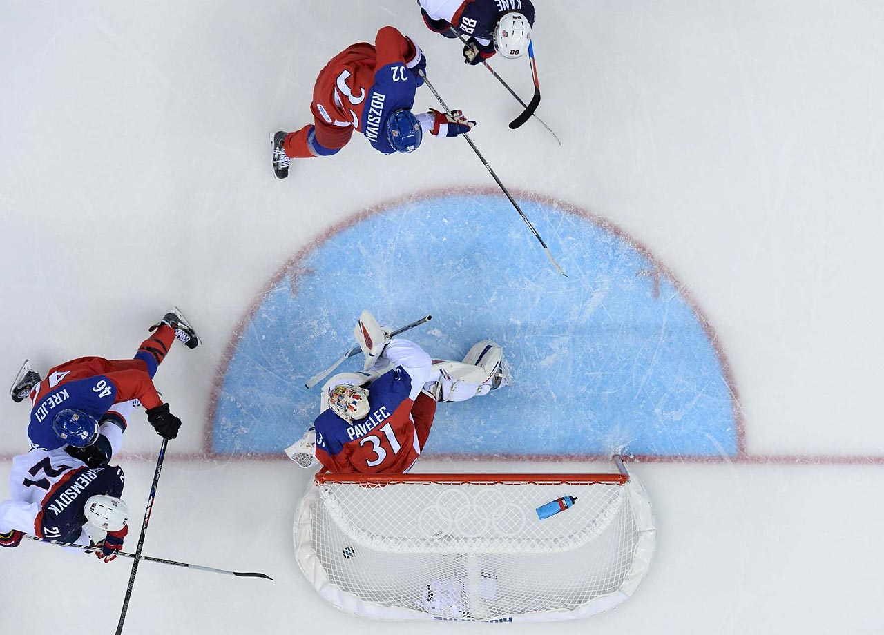 James Van Riemsdyk of the U.S. scores against the Czech Republic.