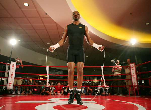 Bernard Hopkins trains during a media workout at Planet Hollywood hotel-casino in Las Vegas.
