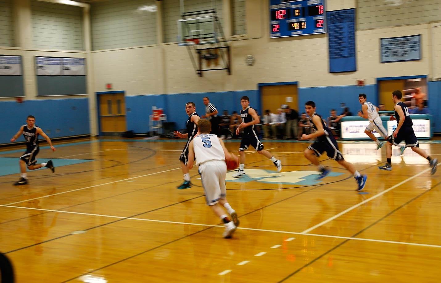 Jack, number 5, helped Big Blue to a 72-53 win over the visiting Medway Mustangs.