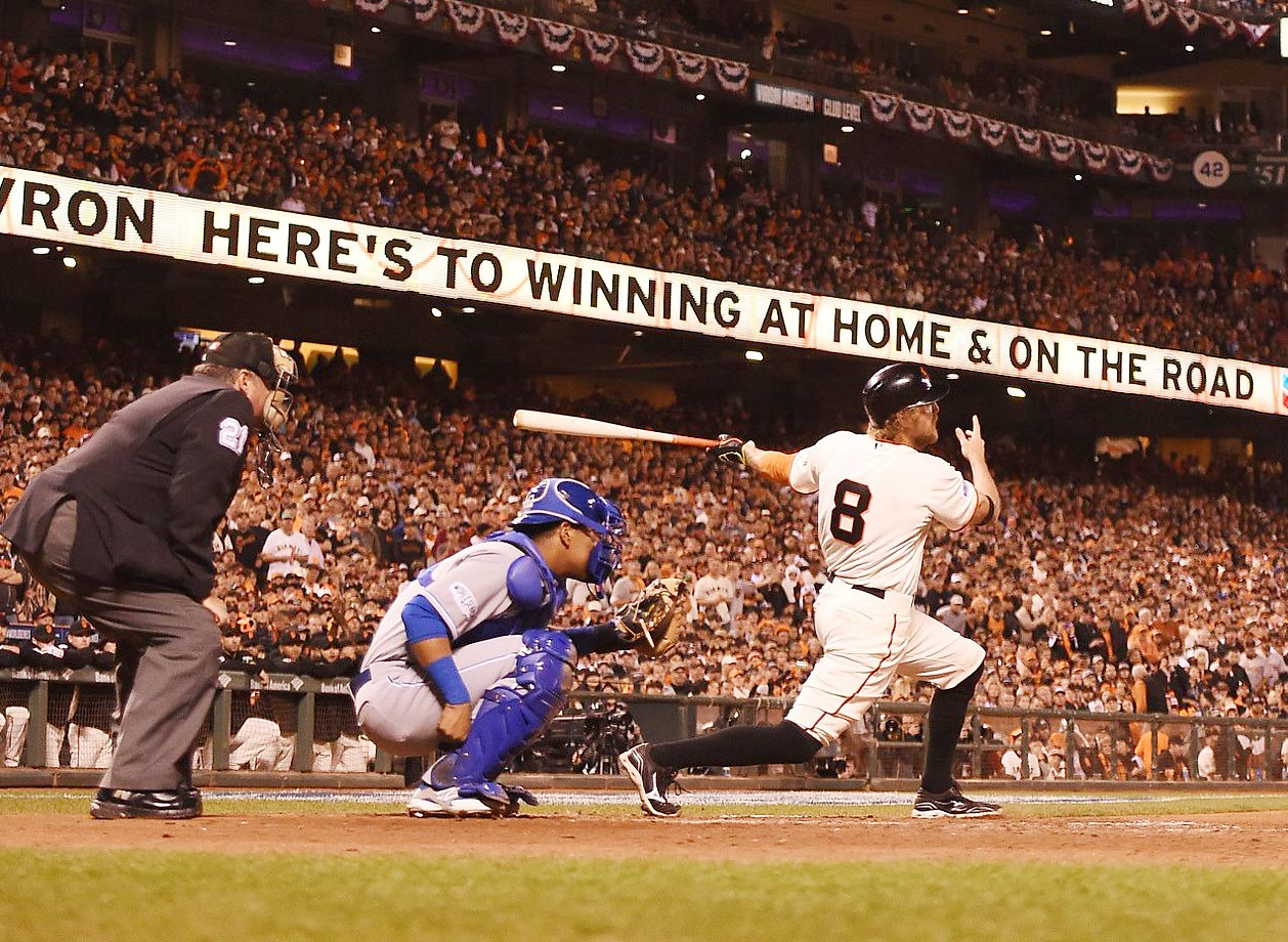 Hunter Pence follows through on a swing in the shutout win against the Royals in Game 5 of the World Series.