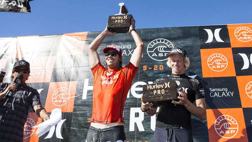 Jordy Smith of South Africa during the awards ceremony at the Hurley Pro in Lower Trestles, California.