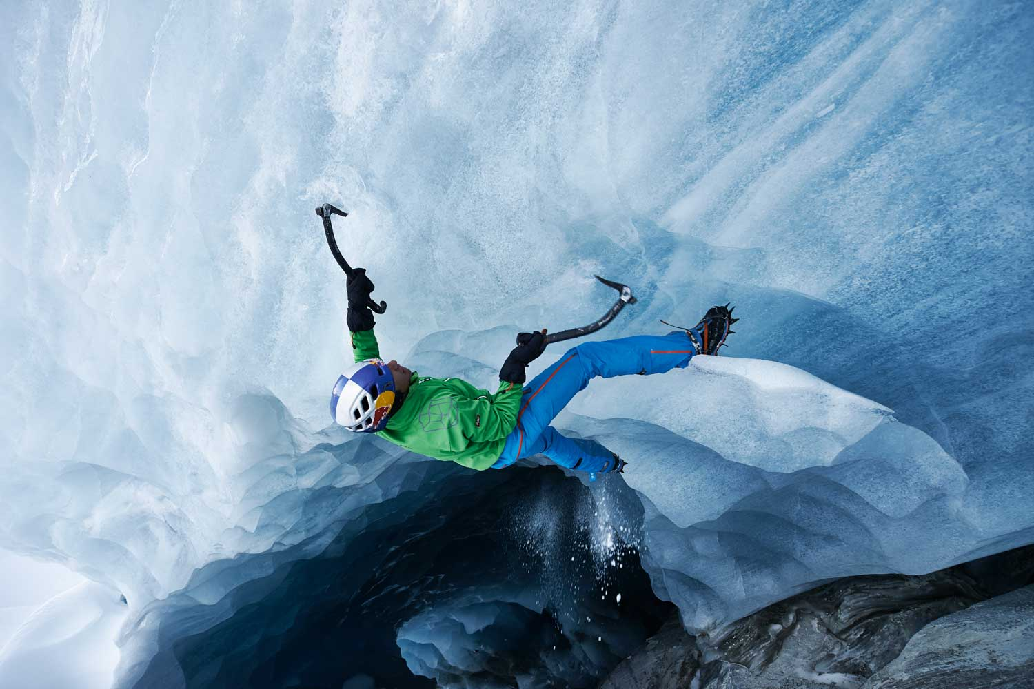 David Lama scales an iceberg in the Otztal, Tyrol, Austria.