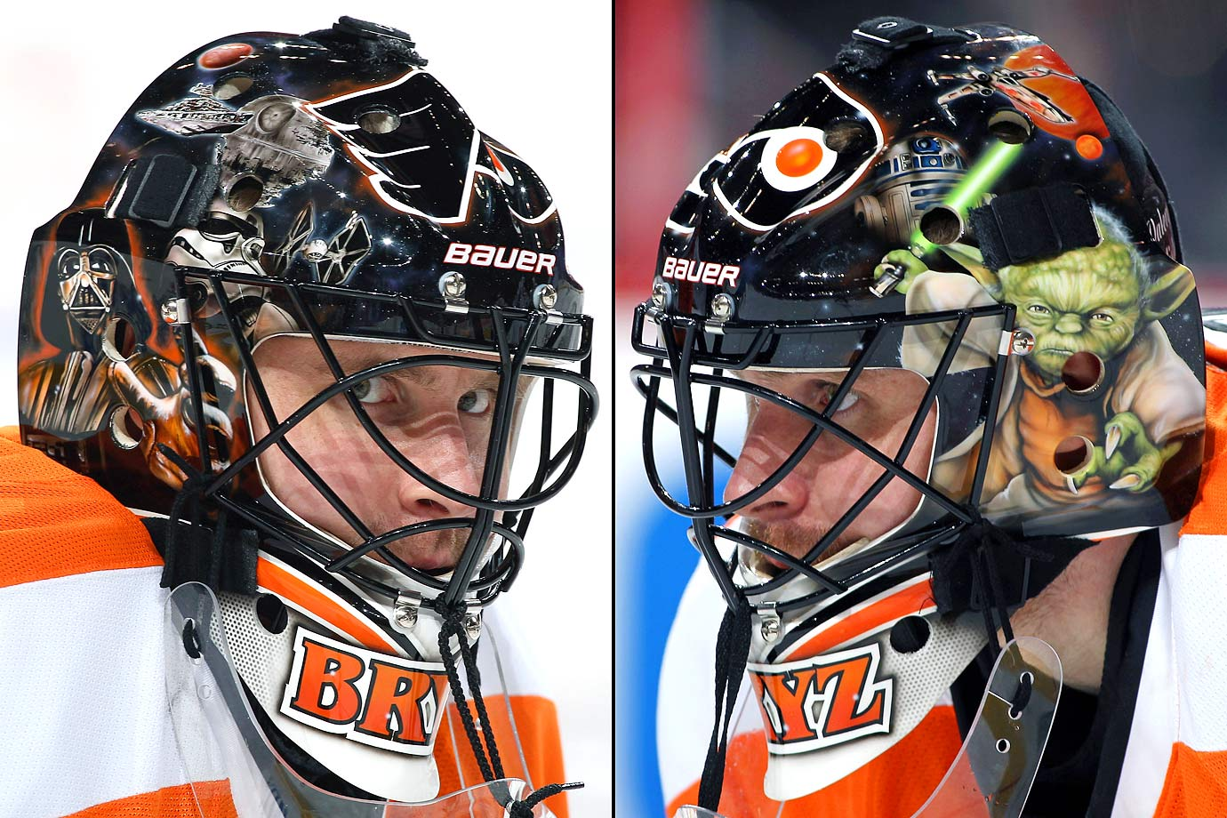Philadelphia Flyers goalie Ilya Bryzgalov donned a Star Wars themed mask during the 2012-13 NHL season.