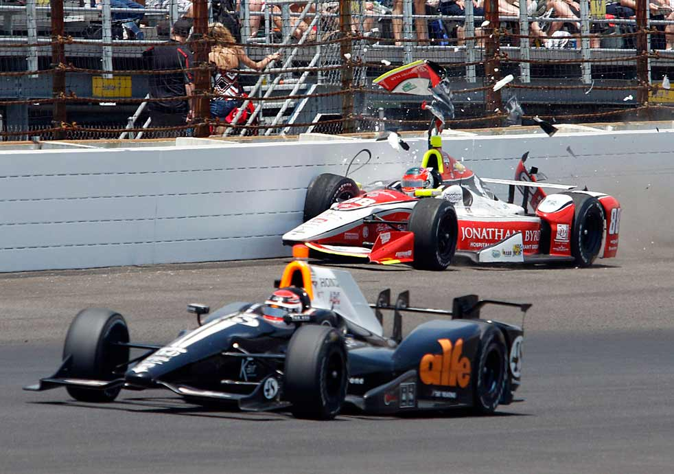 Alex Tagliani (foreground) avoids Bryan Clauson, who lost control on Turn 4 and hit the wall during lap 65. Clauson was one of eight drivers whose day was ended early by a crash. The others: Sage Karam, Ed Carpenter, Oriol Servia, Jack Hawksworth, Sebastian Saavedra, Stefano Colletti and Tony Kanaan.
