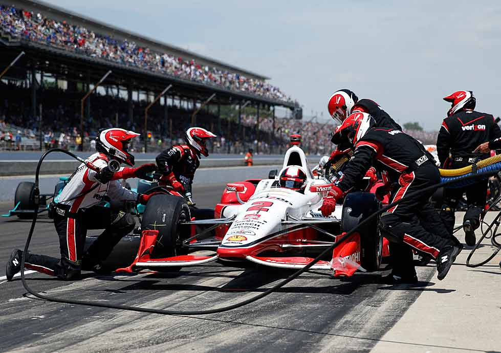 Juan Pablo Montoya overcame pit difficulties, including an unplanned stop to fix damage to the rear of his car and overshooting his stall, that knocked him back to 30th early in the race.