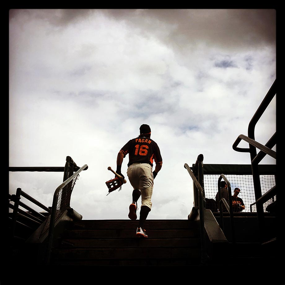 San Francisco Giants center fielder Angel Pagan taking the field for batting practice under gloomy skies before a game against the Cincinnati Reds on Wednesday, Sept. 16, 2015, at AT&T Park in San Francisco.