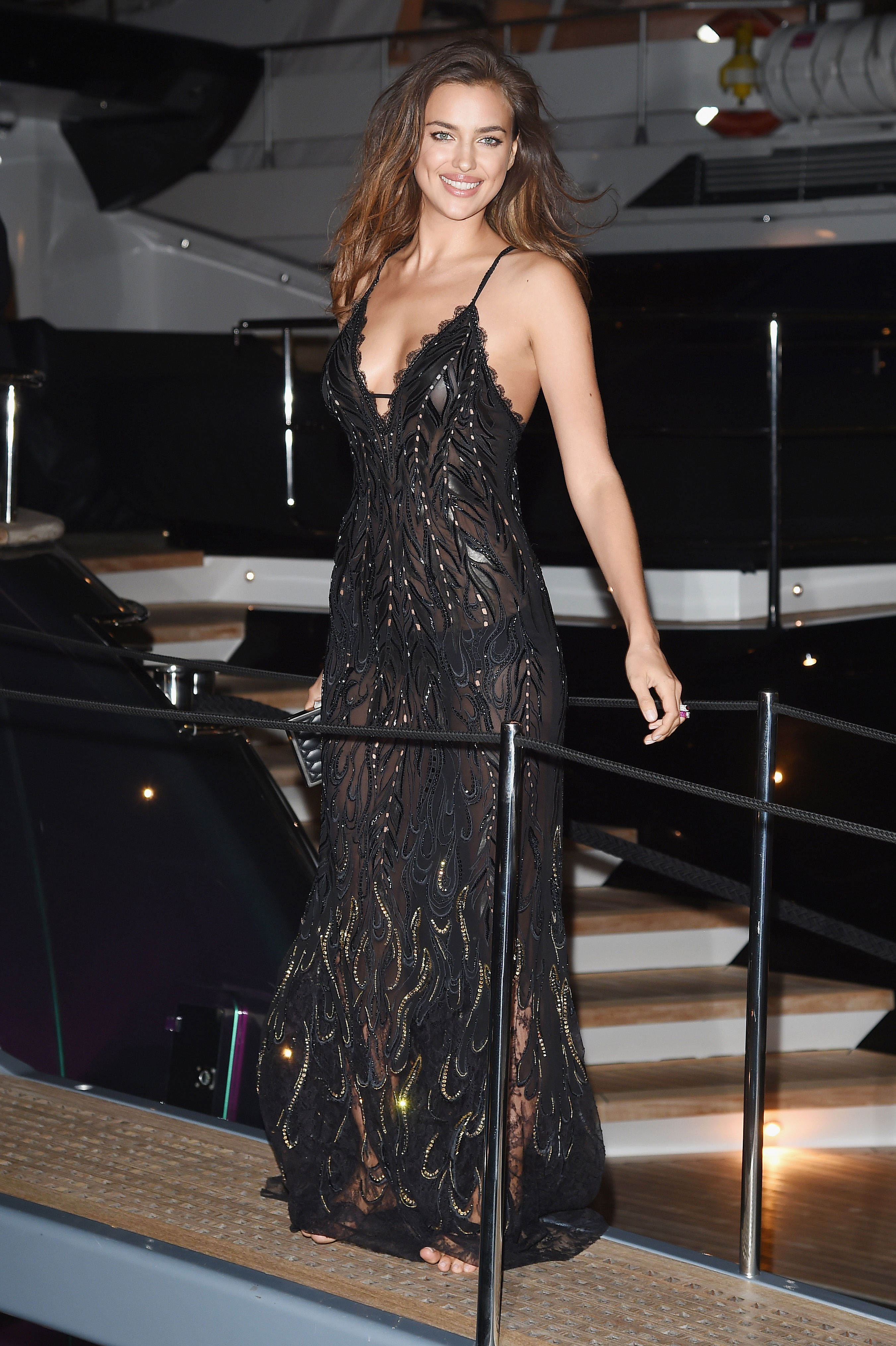 Irina Shayk attends the Roberto Cavalli yacht party at the 67th Annual Cannes Film Festival.