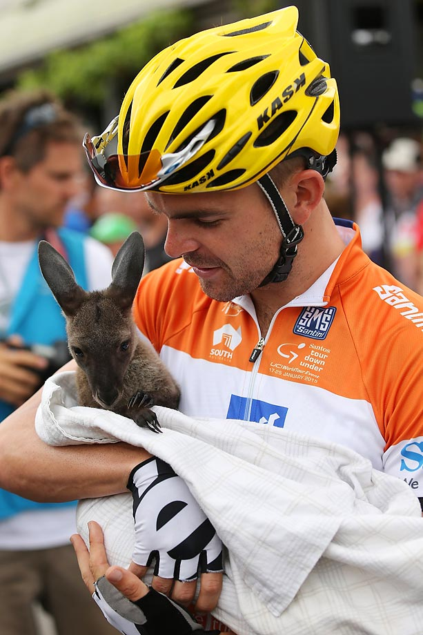 Jack Bobridge of Australia holds a baby kangaroo before the start of stage 2 of the 2015 Santos Tour Down Under.