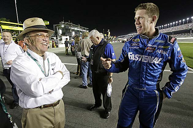 If Jack Roush (left) is angry at Edwards for leaving, he hasn't shown it.