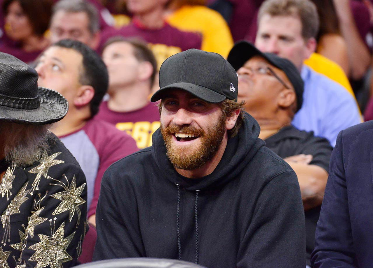 Actor Jake Gyllenhaal takes in Game 5 of the Golden State Warriors-Cleveland Cavaliers series in the NBA Finals.